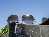 Dusty sunglasses after tank driving fun!